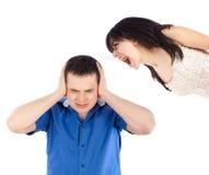 Qarrel between lovers. Quarrel between lovers, the women shouting at her boyfriend Stock Photo