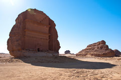 Qasr alFarid gravvalv Madain Saleh i Saudiarabien Royaltyfri Bild