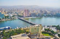 Qasr El零桥梁,开罗,埃及鸟瞰图  免版税库存图片
