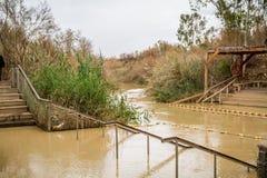 Qasr el Yahud, место крещения, река Иордан в Израиле Стоковые Изображения RF