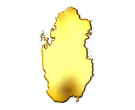 Qatar 3d Golden Map. Isolated in white Stock Photos