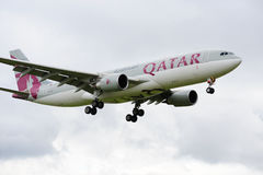 Qatar Airbus A330. Landing at Manchester Airport royalty free stock photography