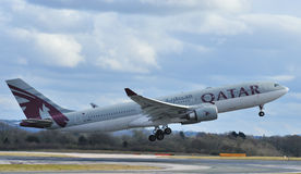 Qatar airbus a330. Taking off from Manchester airport stock photography