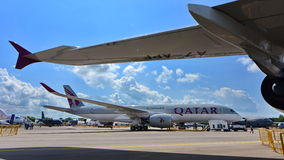 Qatar Airbus A350-900 XWB on display at Singapore Airshow Stock Photography