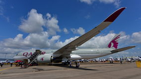 Qatar Airbus A350-900 XWB on display at Singapore Airshow Stock Photos