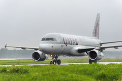 Qatar airlines Airbus A320 taxiing. Royalty Free Stock Image