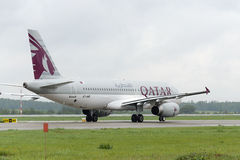 Qatar airlines Airbus A320 taxiing. Stock Images