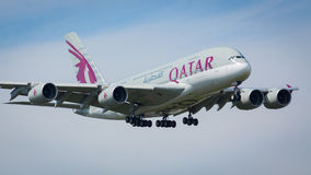 Qatar Airlines A380-800 aircraft. Landing at London Heathrow airport 2nd August 2015, serial A7-APA Stock Photo