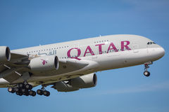 Qatar Airlines A380-800 aircraft Royalty Free Stock Photography