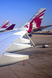 Qatar airplanes on a runway Stock Photo