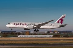 Qatar Airways imagem de stock royalty free