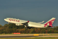 Qatar Airways Airbus A330. Qatar Airbus A330 taking off from Manchester Airport stock images