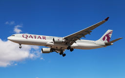 Qatar Airways Airbus A330. A Qatar Airways Airbus A330-302 approaching to El Prat Airport in Barcelona, Spain Royalty Free Stock Images