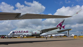 Qatar Airways Airbus A380 on display at Singapore Airshow Royalty Free Stock Photos