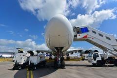 Qatar Airways Airbus A380 na exposição em Singapura Airshow Foto de Stock Royalty Free