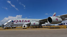 Qatar Airways Airbus A380 super jumbo on display at Singapore Airshow Stock Image
