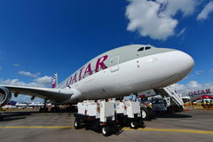 Qatar Airways Airbus A380 super jumbo on display at Singapore Airshow Royalty Free Stock Photos
