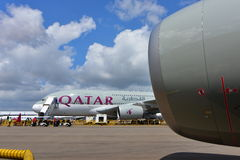 Qatar Airways Airbus A380 super jumbo at Singapore Airshow Royalty Free Stock Photography
