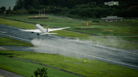 Qatar airways airplane , Boeing 787 dreamliner , take off at p royalty free stock image