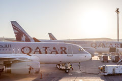 Qatar Airways Airplanes at the Qatar International Airport Stock Photos