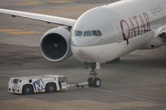 Qatar Airways. Based in Doha and serving 125 international destinations,  Qatar Airways is the state-owned flag carrier of Qatar Stock Images
