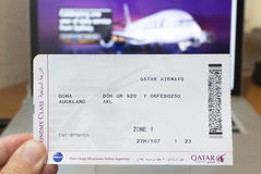 Qatar Airways boarding pass. A boarding pass of the longest flight in the world, a 9,031-mile from Doha to Auckland, New Zealand Stock Photography
