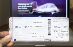 Qatar Airways boarding pass. A boarding pass of the longest flight in the world, a 9,031-mile from Doha to Auckland, New Zealand Royalty Free Stock Photography