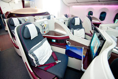 Qatar Airways Business Class at Singapore Airshow 2014 Stock Images