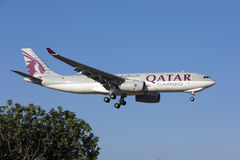 Qatar Airways cargo A330. Luqa, Malta - July 18, 2017: Qatar Airways Cargo Airbus A330-243F [REG: A7-AFJ] coming in to landing runway 31 in the morning, direct Stock Images