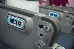 Qatar Airways Economy Class at Singapore Airshow 2014 Stock Photography