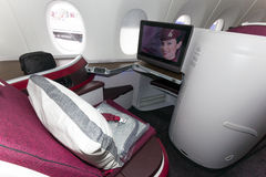 Qatar Airways first class. PARIS - JUN 18, 2015: First Class seat in a Qatar Airways Airbus A350. Qatar Airways is the first user of the A350 with it's first Royalty Free Stock Images