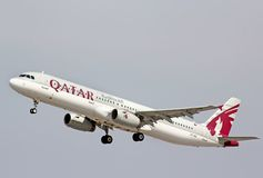Qatar Airways flygbuss A321 Royaltyfria Foton