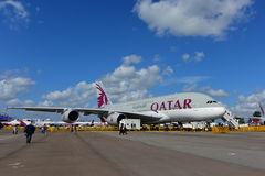 Qatar Airways A380 super jumbo on display at Singapore Airshow Royalty Free Stock Photography