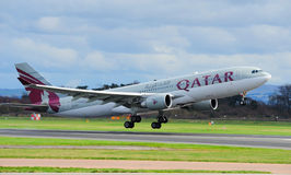 Qatar Aiways Airbus A330. Taking off from Manchester Airport stock photos