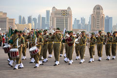Qatar Army Forces. DOHA-QATAR: DECEMBER 18: Qatar Army Forces are performing military music in Doha, Qatar. The event was held on Qatar National Day on the 18th royalty free stock images