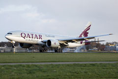 Qatar B777 landing Stock Photography
