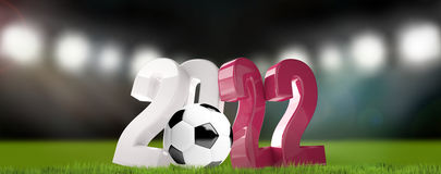 2022 qatar ball football soccer 3d render. Illustration Royalty Free Stock Photos