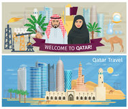 Qatar Banner Set Stock Photos