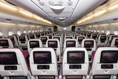 Qatar A380 cabin Royalty Free Stock Image