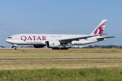 Qatar Cargo Boeing 777F. With registration A7-BFO on take off roll on runway 36L Polderbaan of Amsterdam Airport Schiphol stock photos