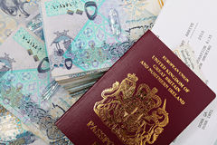 Qatar cash and passport Royalty Free Stock Images