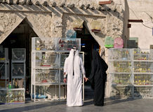 Qatar couple in pet market Stock Images