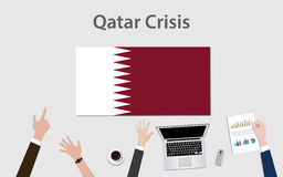 Qatar crisis with hand team discuss the economy with qatar flag Stock Photos