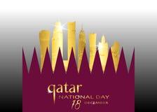 Qatar día nacional celebración 18 de diciembre, edificio y bandera que agita, ejemplo de la silueta del oro de Qatar del vector stock de ilustración