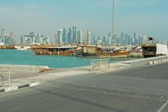 Qatar, doha, city, modern, arabic, architecture. Qatar, doha, city modern arabic architecture skyline arabia qatar, doha, bazaar, market, souk, arab, shop Stock Image