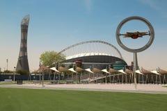 Torch tower and Khalifa international stadium in Aspire Zone, Doha, Qatar stock photos