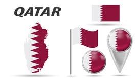 qatar Drapeau d'ensemble, indicateur de carte, bouton, drapeau de ondulation, symbole, icône plate et carte dans les couleurs du  illustration de vecteur