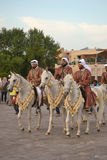 Qatar Emiri Knights. DOHA-QATAR: DECEMBER 18: Qatar Emiri Forces are performing military horse ride marches in Doha, Qatar. The event was held on Qatar National royalty free stock image