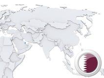 Qatar en el mapa de Asia stock de ilustración
