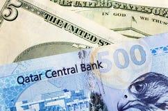 qatar för dollarutbyte riyal Arkivbild